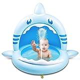 Weokeey Planschbecken für Kinder, Hai Baby Pool mit Sonnenschutz Dach Baby Planschbecken mit Wasserspray Babypool für Balkon, Garten, Dusche, Terrasse(160*110*115cm)