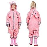 TURMIN 3D Kinder Regenmantel mit PVC Hutkrempe, Mädchen Jungen Wasserdicht Regenanzug mit...