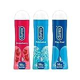 Durex Play Ausprobierpaket mit 3 verschiedenen Gleitgelen | Sweet Strawberry & Prickelnd & Feel (3 x...