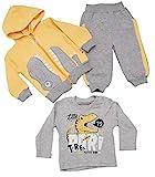 Unbekannt Baby Jungen Kleinkinder 3er Set Jogginganzug Trainingsanzug Sportanzug Fitness Hose Jogginghose 3 Teilig (80, Gelb)