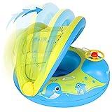 Peradix Baby Schwimmring, Baby Schwimmen Schwimmtrainer mit abnehmbarem Sonnendach, Kinderboot Schwimmer Schwimmreifen mit Sonnenschutz für Kinder ab 6 Monaten