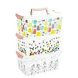 2friends Aufbewahrungsbox Kinder mit Deckel, 3 Stück Rosa, mit Griff im Deckel und Clickverschluss,...