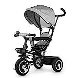 Fascol Dreirad 6 in 1 Kinderdreirad Kinder Fahrrad Baby Kleinkinder mit Lenkbarer Schubstange, mit FlüSterleise Gummireifen und Sonnendach für Jungen und Mädchen ab 12 Monate -5 Jahre (Grau)