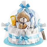 Timfanie Windeltorte | Spieluhr Bär | 1-stöckig | baby-blau | Windeln Gr. 2 (Baby 4-8 Kg)