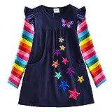 VIKITA Mädchen Streifen Baumwolle Langarm T-Shirt Freizeit Kleid H5808 3-4 Jahre