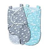 Minetom 2er Baby Pucksack Wickeldecke Schlafsack Neugeborene Schlafsack Decke für Säuglinge mit...