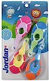 Jordan ® | Step 1 Baby Zahnbürste | Baby Zahnbürste 0-2 Jahre | Die Original Kleinkindzahnbürste mit extra weichen Borsten und weichem Beißring für Babygummis und Easy Grip | Packen Sie 4 Einheiten