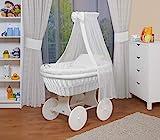 WALDIN Baby Stubenwagen-Set mit Ausstattung,XXL,Bollerwagen,komplett,18 Modelle wählbar,Gestell/Räder weiß lackiert,Stoffe weiß
