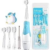 SEAGO SG-513 Elektrische Zahnbürste Kinder Baby Kinderzahnbürste Elektrisch ab 0-3 Jahre mit LED Licht Smart Timer Babyzahnbürste Wasserdicht IPX7 Schallzahnbürste (Baby Blau)
