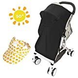 Lictin Sonnenschutz für Kinderwagen Sonnenverdeck Babysonnensegel Sonnenschutz UV-Schutz Sommer Mütze Babymütze