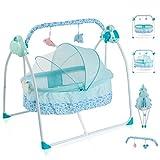 Babywiege Elektrisch Schaukelfunktion Zusammenklappbare und Tragbare Babykörbchen mit 3...