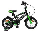 AMIGO BMX Fun - Kinderfahrrad - 12 Zoll - Jungen - mit Rücktritt und Stützräder - ab 3 Jahre - Schwarz/Grün