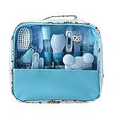 Mentin Baby Pflegeset   13-teiliges Baby Pflege Produkte   Baby Pflegeset Erstausstattung   Nagel und Nasen Pflege mit Tasche mit Handtasche (Blau)