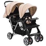 vidaXL Geschwisterwagen Kinderwagen Babywagen Buggy Zwillingswagen Zwillingsbuggy Baby Kleinkinder Taupe Schwarz Stahl Klappbar 6-36 Monate