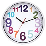 Yudou Kinder Wanduhr Mit lautlosem Uhrenwerk und Farbenfrohem Design - Lernen Wanduhr,Ablesen der Uhrzeit Lernen,Für Junge und Mädchen, Kinderzimmer Klassenzimmer (30,5 cm)