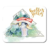 Mousepad Baby Lama In Weihnachtsmütze Aquarell Frohe Weihnachten Holly Rubber Backing Decor rutschfeste 25X30Cm Büro Mousepad Mauspad Gaming Mouse Pad