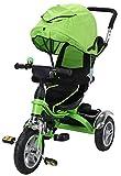 Miweba Kinderdreirad Schieber 7 in 1 Kinderwagen - 360° Drehbar - Luftreifen - Heckfederung - Laufrad - Dreirad - Schubstange - Ab 1 Jahr (KS07 Grün)