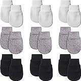 9 Paare Neugeborene Fäustlinge Baby Säugling Handschuhe Kein Kratzer Handschuhe Unisex Baumwolle Handschuhe für 0-6 Monate Baby Jungen Mädchen (Schwarz, Grau, Weiß)