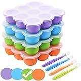 BOCHION Babynahrung Einfrieren Behälter, Silikon Babybrei Aufbewahrung mit Silikondeckel, Gefriertabletts für Babynahrung BPA-frei, von Muttermilch, Kräutern, Saucen, Eiswürfeln, 9 x 75ml - Grün
