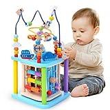 Baobë Holzwürfel Spielzeug für Kinder Motorikwürfel Holzspielzeug Pädagogische Perle Labyrinth für Kinder, Sea World 4-in-1, Aktivitätswürfel Spielzeug Geschenk