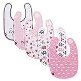 Baby Lätzchen Set 5er Mädchen Spucktuch Klettverschluss Baumwolle Doppellagig Saugfähig Wasserdicht Halstücher Rosa(3-18 Monate) von Future Founder