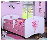 Naka24 Kinderbett mit Matratze und Bettkasten für Mädchen rosa (160x80 cm, Prinzessin mit Herzen)