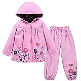 TURMIN Kinder Regenjacke Jungen Mädchen Regenanzug Regenbekleidung wasserdichte Kinderjacke Baby Kleinkind Winddichte Jacke Regen Poncho, Rosa, 130(4-5 Jahre)
