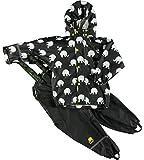 Celavi Baby Unisex Regen Anzug mit Elefanten Aufdruck, Jacke und Latzhose mit Hosenträgern, Alter 18-24 Monate, Größe: 90, Farbe: Schwarz und Gelb, 1372