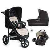 Hauck Rapid 3 Plus Trio Set Dreirad Kinderwagen Set bis 25 kg, isofix-fähige Babyschale, Babywanne mit Matratze ab Geburt, höhenverstellbarer Griff, klein faltbar, leicht, caviar/beige