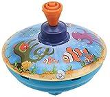 Bolz 52543 - Brummkreisel Meerestiere 13 cm, Blech Schwungkreisel, klassischer Pumpkreisel, Blechkreisel mit Tieren aus Meer Motiv, Kreisel mit Standspitze, Spielzeugkreisel für Kinder ab 18m+