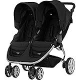 BRITAX RÖMER Buggy B-AGILE DOUBLE, Zwillingsbuggy klein zusammenklappbar und kompakt für zwei Kinder, von Geburt bis 4 Jahre, Cosmos Black