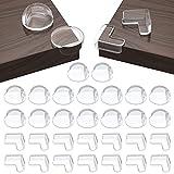 30 Stück Ecken&Kantenschutz Set(16 runde kanten+14 rechtwinklige ecken), Schutzecken-Eckenschutz Transparent Tisch Geeignet für verschiedene Möbel, um das Baby vor Verletzungen zu schützen