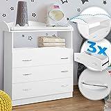 Infantastic® Wickelkommode - inkl. 3 großen Schubladen und Fach, LxBxH 85x71x96 cm, Weiß -...