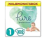 Pampers Größe 1 Pure Protection Baby Windeln, 102 Stück, HALBMONATSBOX, Mit Premium-Baumwolle Und...