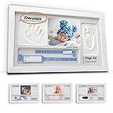 LALFOF Bilderrahmen 7IN1 mit baby handabdruck und fußabdruck mit NAMEN und Ablegefach.Neugeborenen geschenk baby abdruckset für Geburt.Geschenkidee für mama Großmütter oder tante als Geschenkset