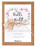 kids&me® Meilensteinkarten für das 1. Babyjahr - 29 süße Babykarten für Mädchen - Das beliebte Geschenk zur Geburt! - Baby Monatskarten für das 1. Lebensjahr des Babys