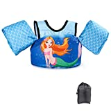 JEVDES Schwimmflügel Schwimmweste mit Schultergurt für Kinder Kleinkinder von 2-7 Jahre 15-30kg Schwimmen Lernen Schwimmhilfe mit verschiedenen Designs für Jungen und Mädchen (Meerjungfrau)