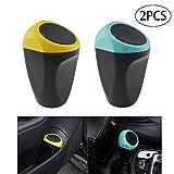 2 x Auto-Mülleimer, Mini-Abfalleimer für Auto, Heim, Büro, Schreibtisch (gelb, blau)