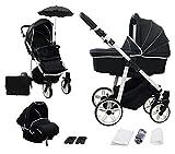 Skyline 3in1 Kombi Kinderwagen mit einem Aluminium Gestell, Babywanne, Sport Buggyaufsatz und Babyschale (ISOFIX) (Schwarz)