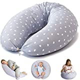 Bamibi ® Stillkissen Seitenschläferkissen Schwangerschaftskissen zum Schlafen Lagerungskissen mit Bezug aus 100% Baumwolle (Herzen)