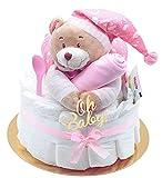 Trend Mama Windeltorte Mädchen -Traum in rosa- mit Spieluhr Bär-rosa Lätzchen handbedruckt mit...