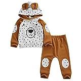 Geagodelia Babykleidung Set Baby Jungen Mädchen Kleidung Outfit Langarm Kapuzenpullover Top + Hose Neugeborene Weiche Babyset T-33958 (Braun Bär 282, 0-6 Monate)