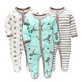 LAT LEE AND TOWN Baby Schlafstrampler Schlafanzug Schlafsack Gr. 56 62 68 Baumwolle mit Füßen mit...