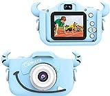 """Wurkkos Kids Digital Camera,12.0 Megapixel Kamera mit Einer kindgerechten,Niedlichen Silikonhülle,geeignet als Geburtstagsgeschenk BZW.Spielzeug,2.0""""Display 1080P HD Kamera mit 16GB SD Karte,Blau"""