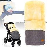 Winterfußsack/Fußsack (100% ECHTES LAMMFELL) für Kinderwagen/Buggy/Jogger Kinderwagenfußsack...