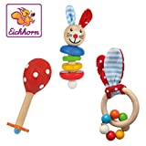 Eichhorn 100017045 - Baby Starter/Geschenke Set mit Maraca, Greifling mit Sound und Greifling mit Hasenmotiv, 3-teilig, ab 3 Monaten