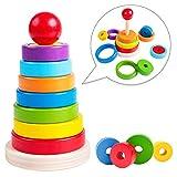 rolimate Holzspielzeug Stapelspielzeug, Bunte Regenbogenturm Klassische Spielzeug, Holz Stapelspielzeug pädagogische Montessori Spielzeug, Beste Geburtstagsgeschenk für 3 4 5 Jahre alte Jungen Mädchen
