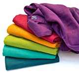 divata Bunte Baby Spucktücher (Regenbogen, 6er Set, 80x80 cm) - Farbige Mullwindeln, Mulltücher | 100% Baumwolle, Oeko-Tex-Zertifiziert