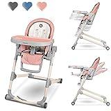 Lionelo Cora Hochstuhl Baby, Kinder Hochstuhl bis 15 kg, höhenverstellbar, regulierbare Rückenlehne, doppeltes Tablett, Einsatz für Kleinkinder (Rosa)