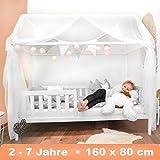 Alcube Hausbett 160x80 cm - stabiles Kinderbett mit wechselbarem Rausfallschutz und Lattenrost -...